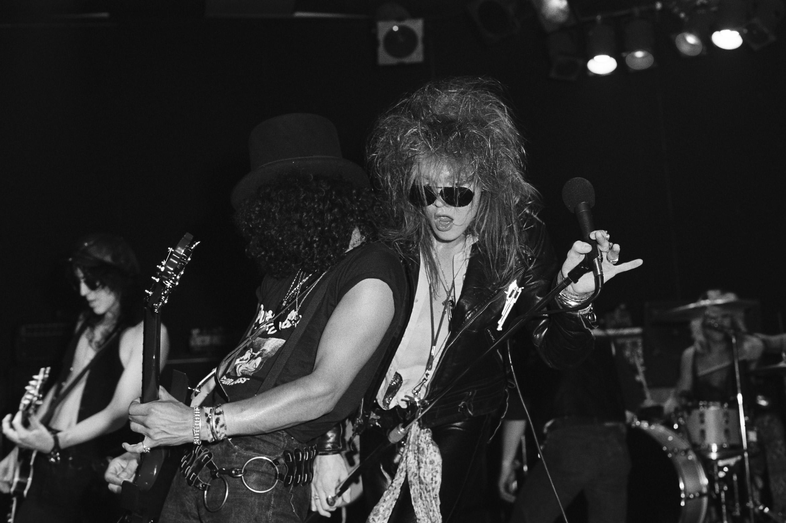 Izzy Stradlin, Slash, Axl Rose and Steven Adler of Guns n' Roses perform at The Whisky-a-Go-Go  on Aug. 23,1986 in Los Angeles