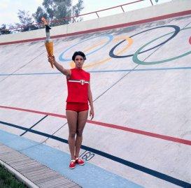 Enriqueta Basilio Waving on Olympic Grounds 1968