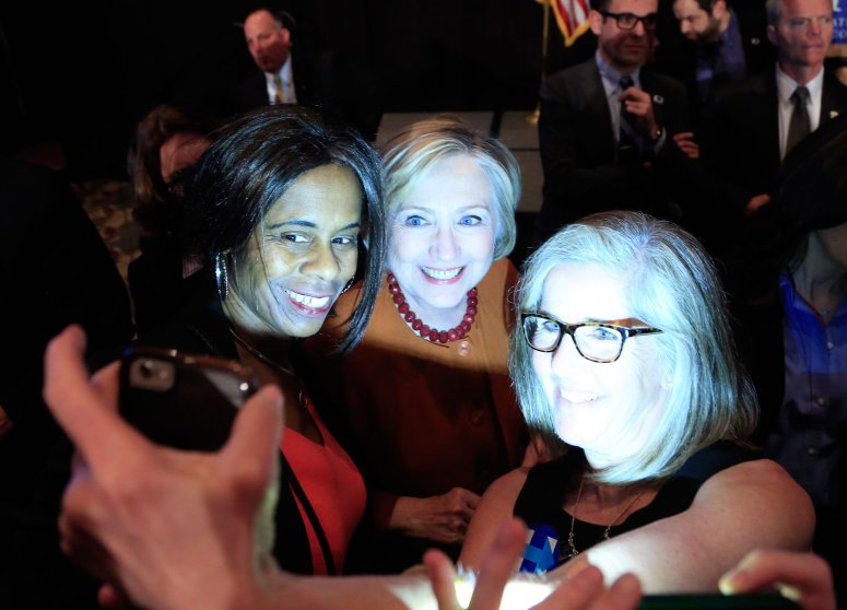 Democratic presidential candidate, former Secretary of State Hillary Clinton greets guests after speaking at the Founders Day Dinner on April 2, 2016 in Milwaukee.