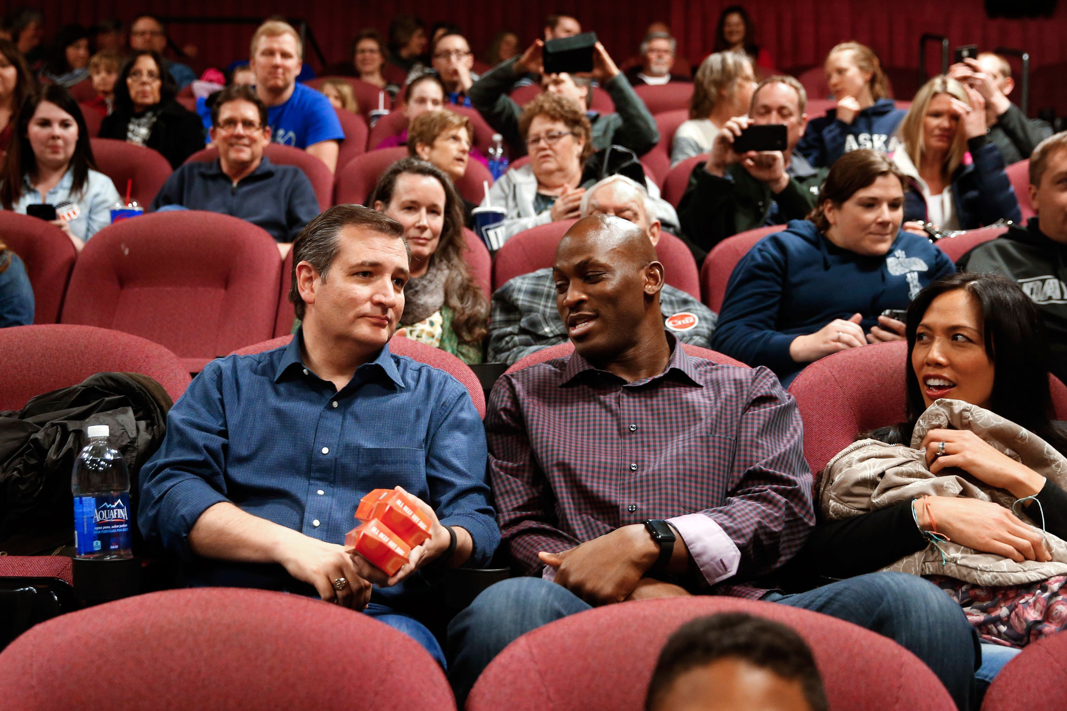 Republican presidential candidate Sen. Ted Cruz, R-Texas, sits down to watch  God's Not Dead 2,  on April 2, 2016, in Ashwaubenon, Wis.