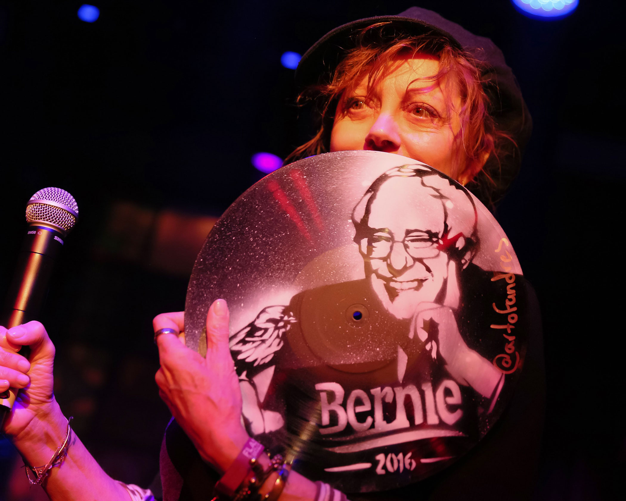 Actress Susan Sarandon shows her support for Vermont Sen. Bernie Sanders at a party at Flash Factory in New on April 4.