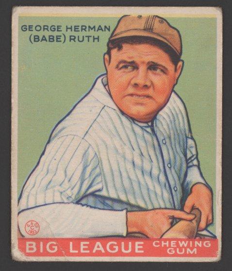 Babe Ruth baseball card circa 1933.