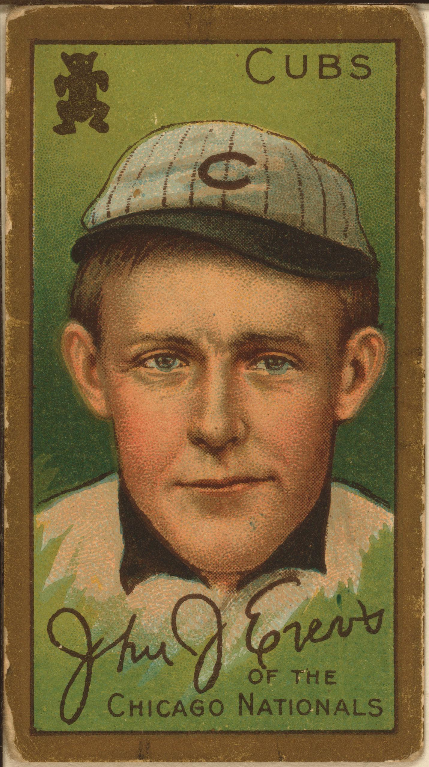 John J. Evers, Chicago Cubs, baseball card, 1911.