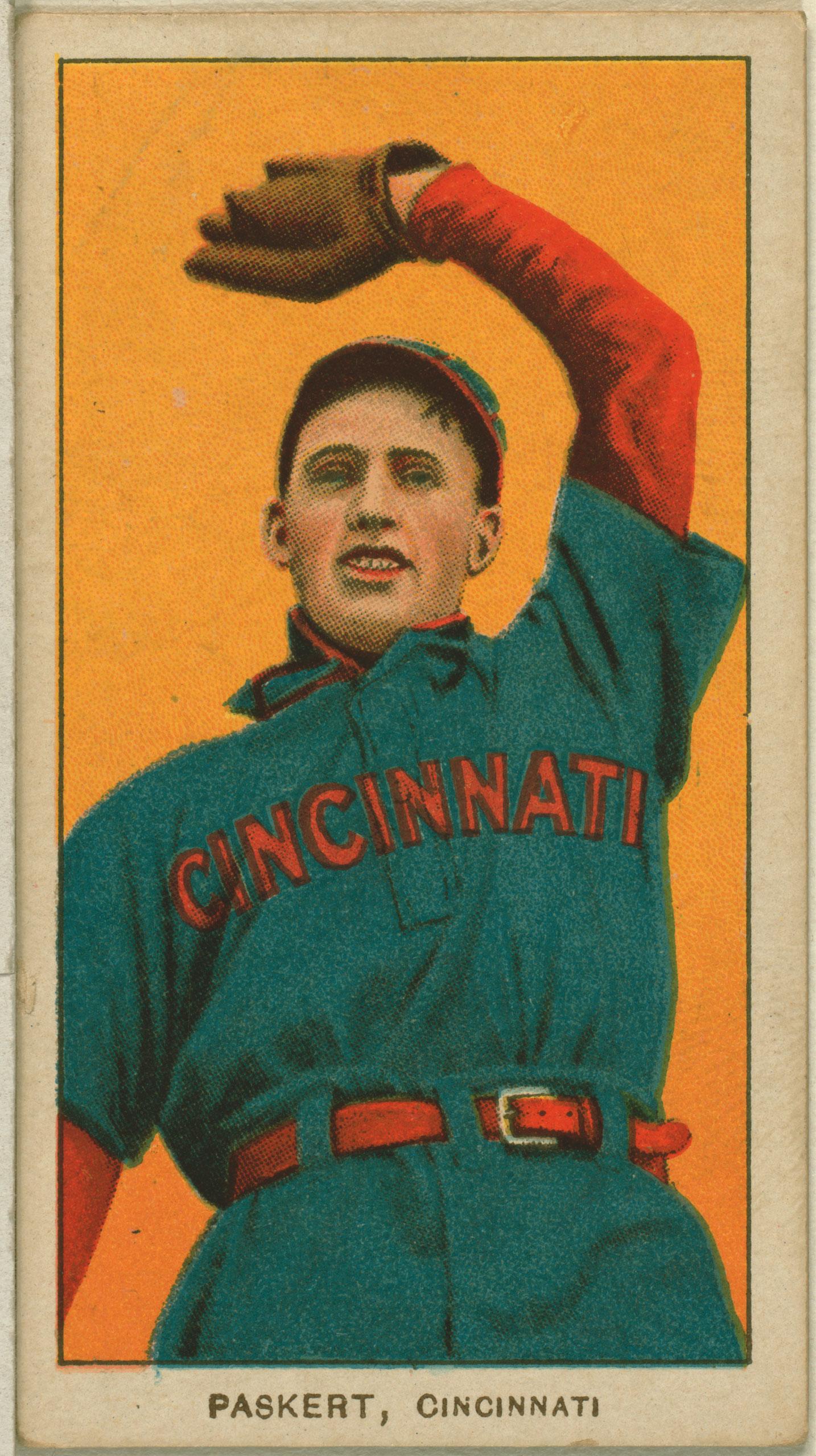 Dode Paskert, Cincinnati Reds, baseball card, 1909-1911.