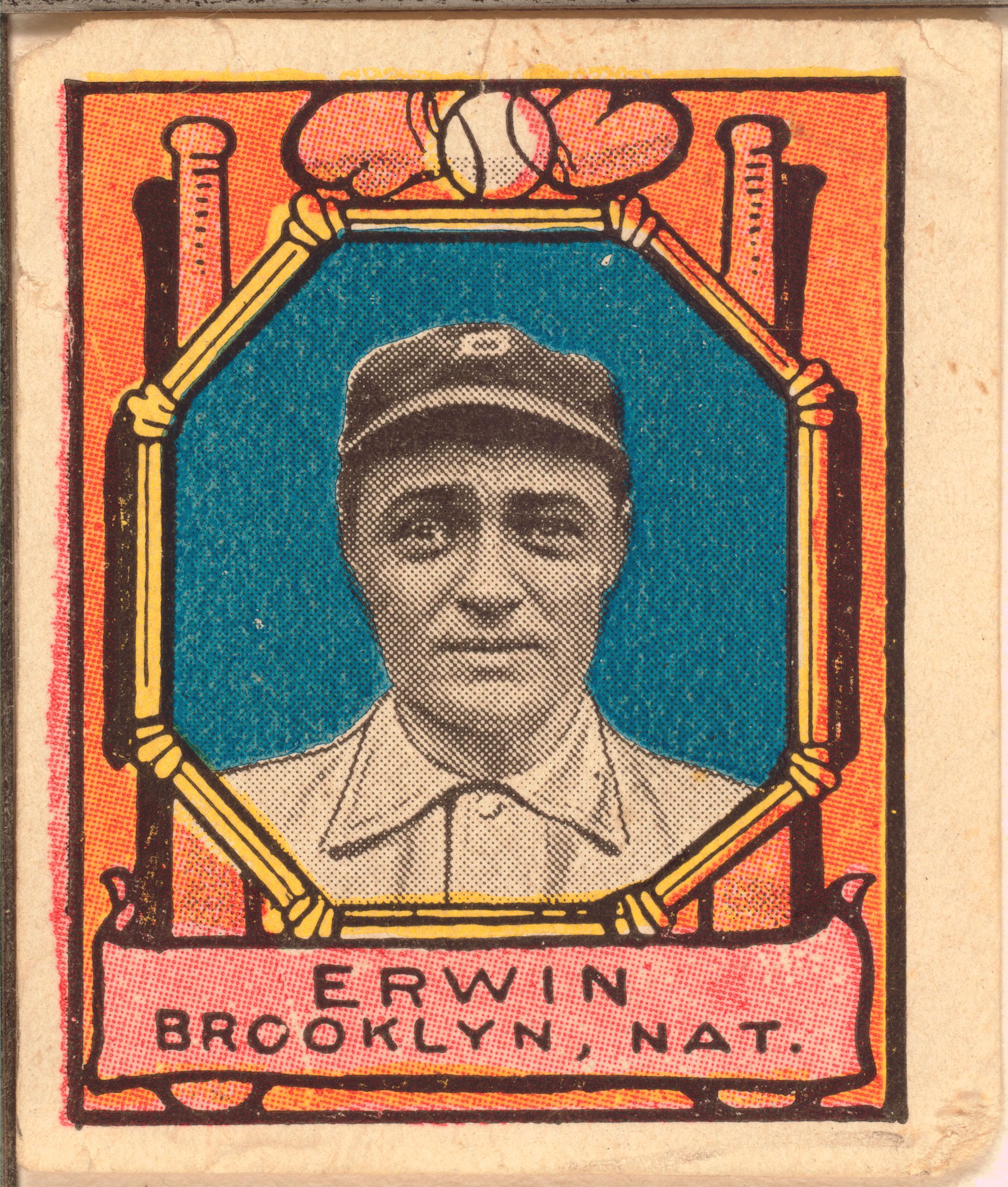 Tex Erwin, Brooklyn Dodgers, baseball card, 1911.