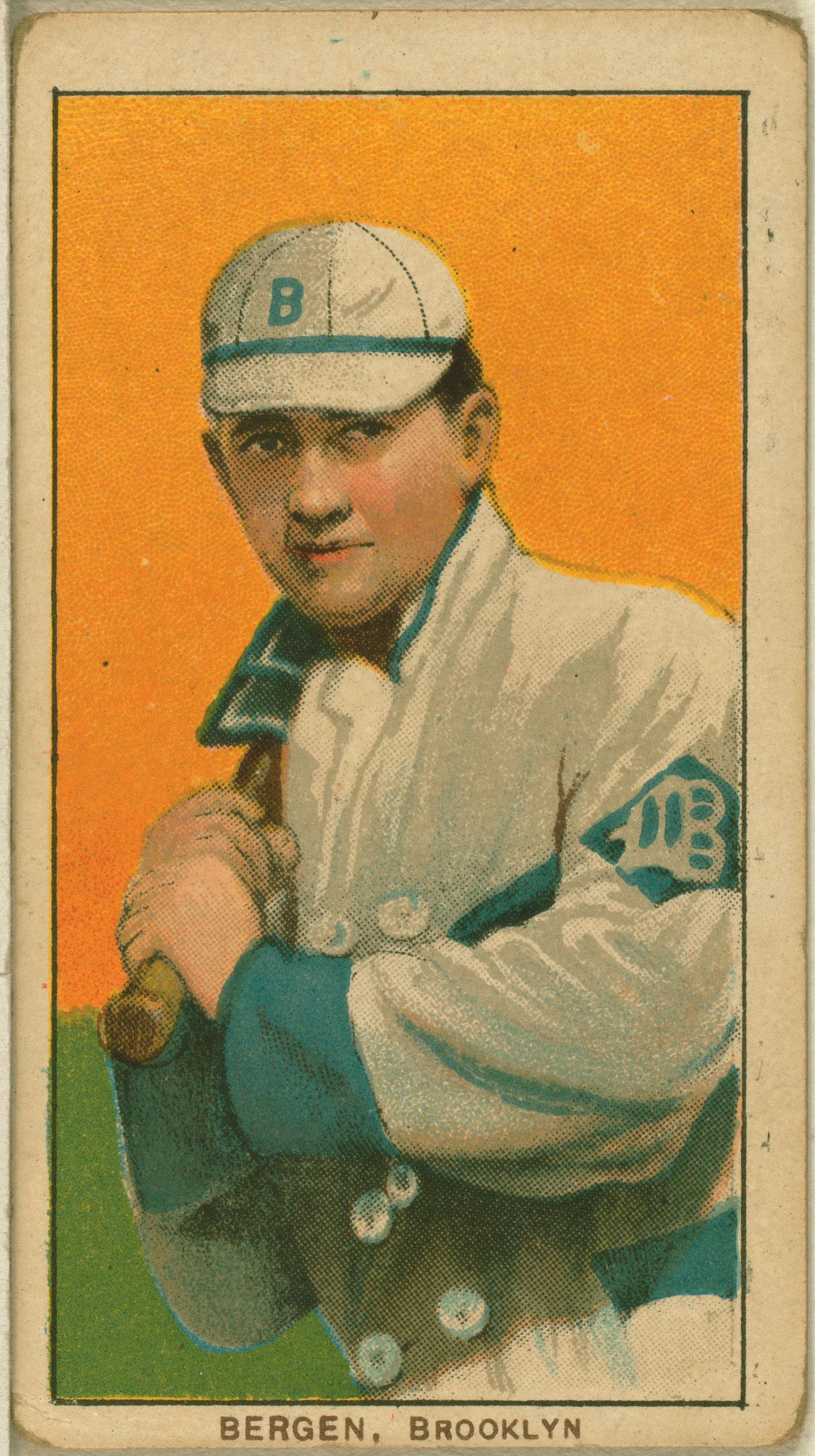 Bill Bergen, Brooklyn Dodgers, baseball card, 1909-1911.