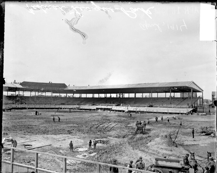 Construction taking place at Federal League ballpark Weeghman Park, Chicago, Illinois, 1914. From the Chicago Daily News collection.