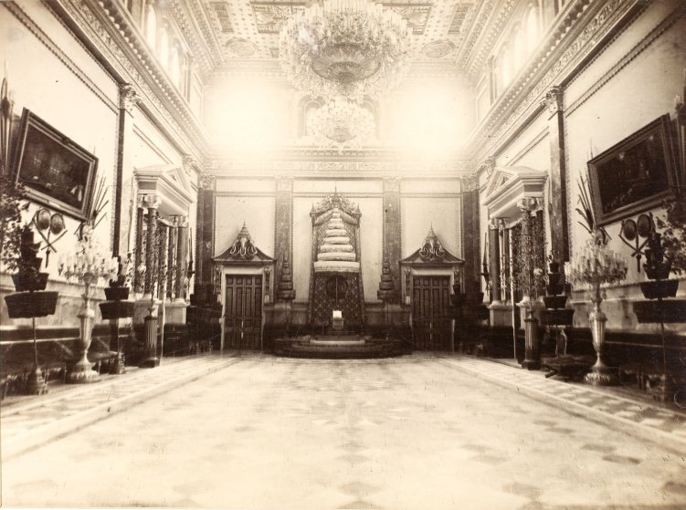 Throne room in the Maha Chakrakri Palace, Siam, 1893.