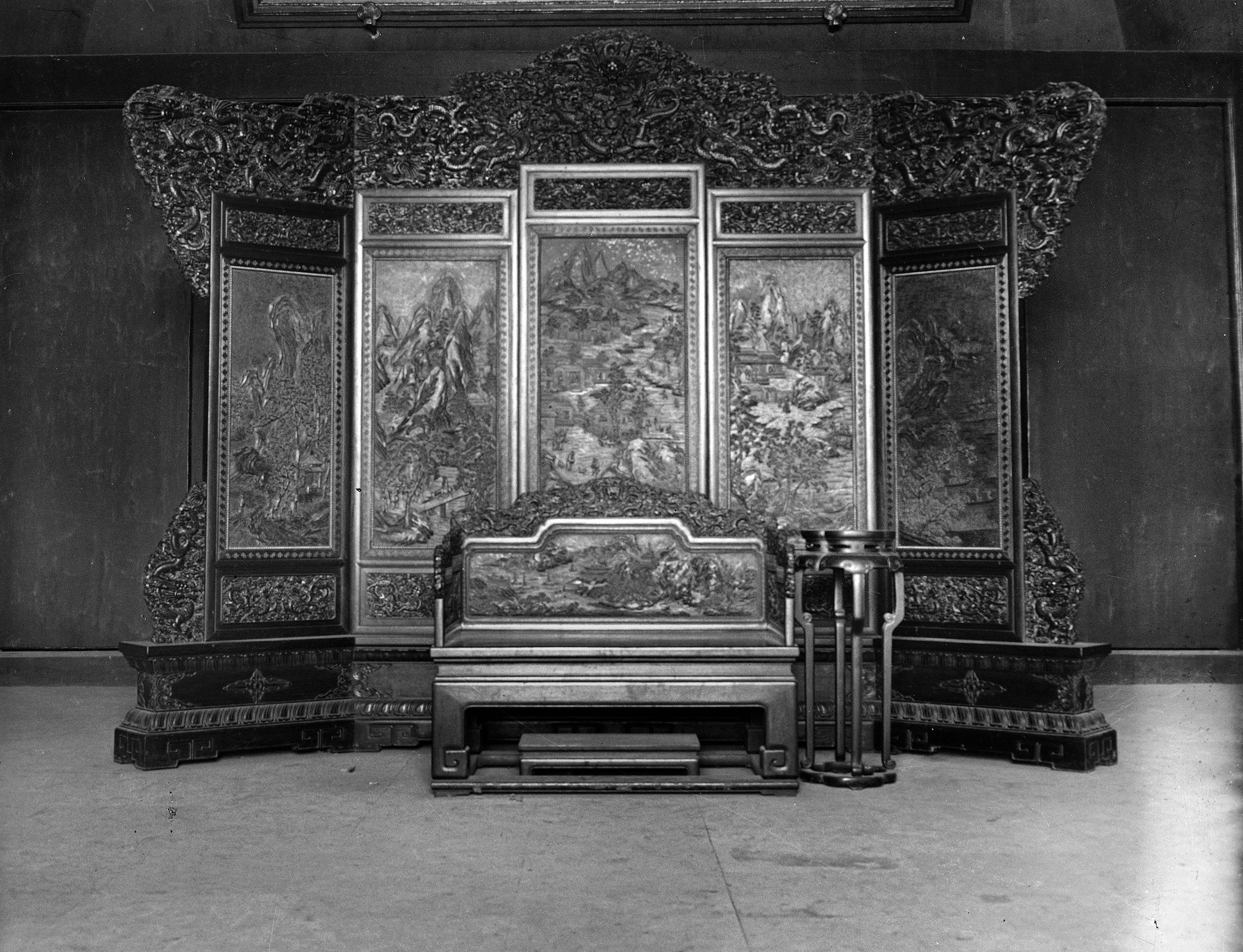Throne of the Chinese emperor in Beijing, circa 1900.