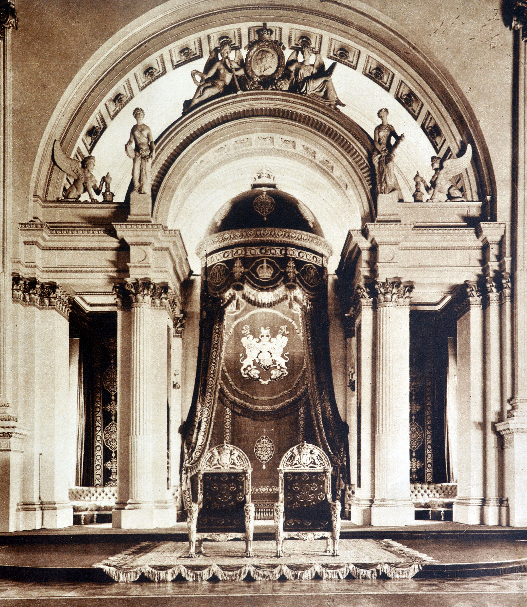 Throne room at Buckingham palace in London, 1935.