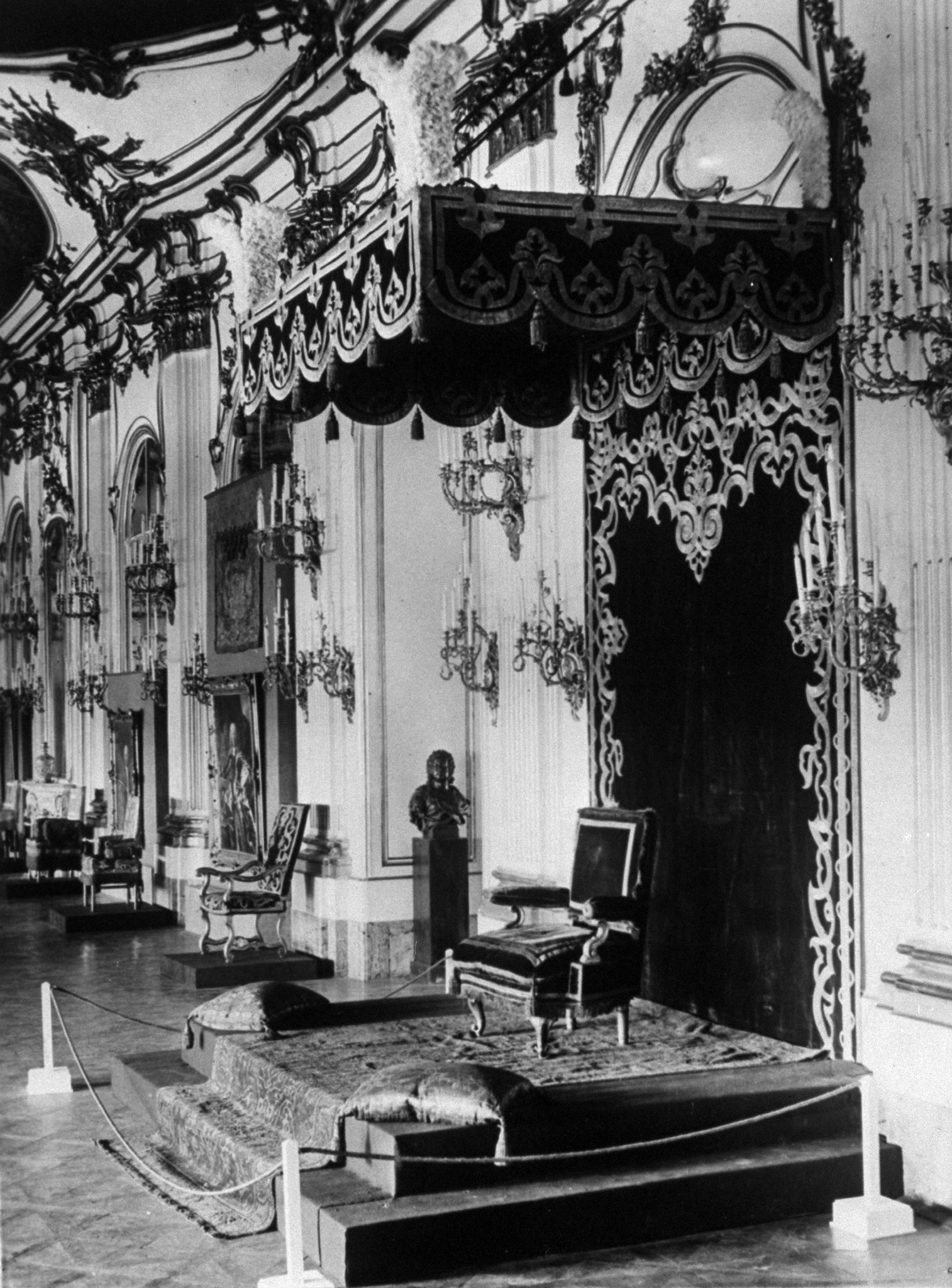 Throne room of the Empress Maria Theresa of Austria in the Castle Schoenbrunn, 1930.