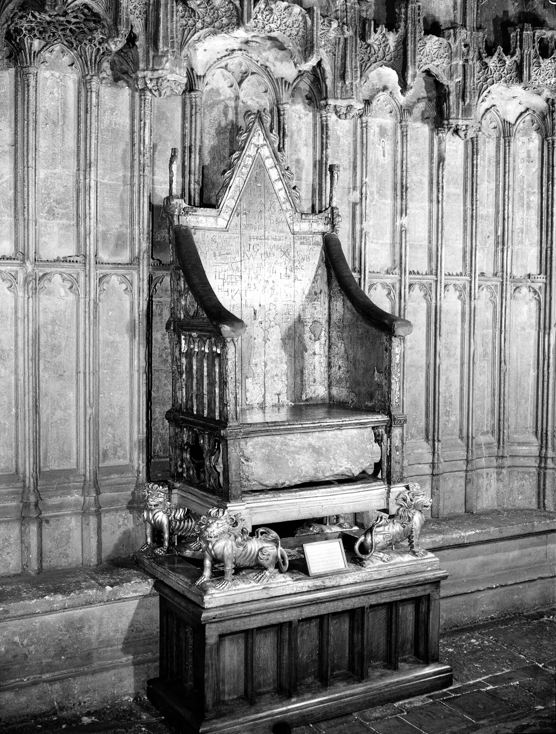 The Coronation Chair in Westminster Abbey. England, 1953.