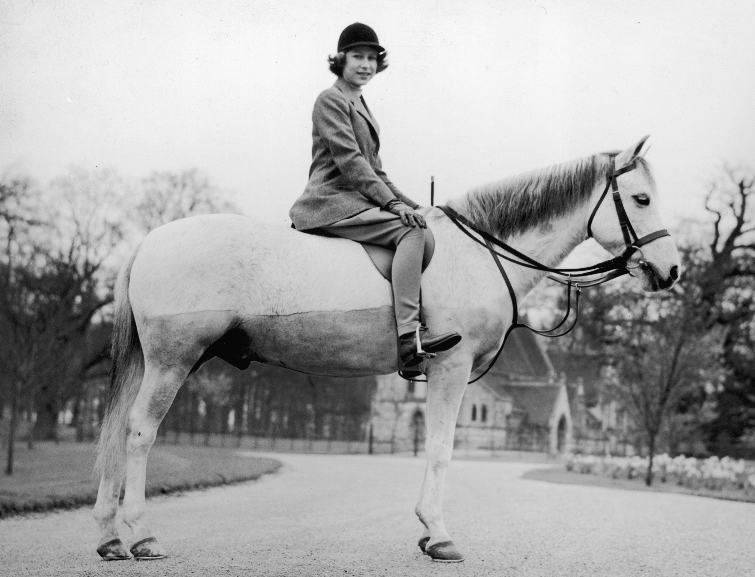 Princess Elizabeth out riding at the Royal Lodge, Windsor. April 1940.