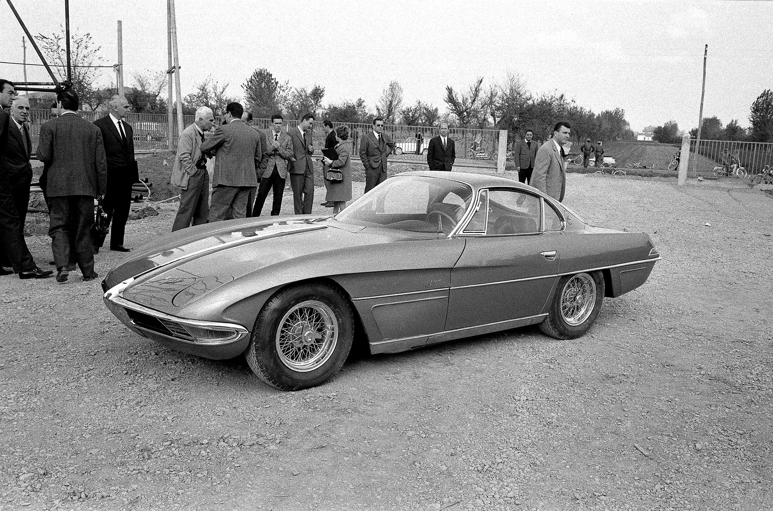 The launch of the new Lamborghini 350GTV with body by Franco Scaglione at the Lamborghini Factory, Sant'Agata, October 1963.