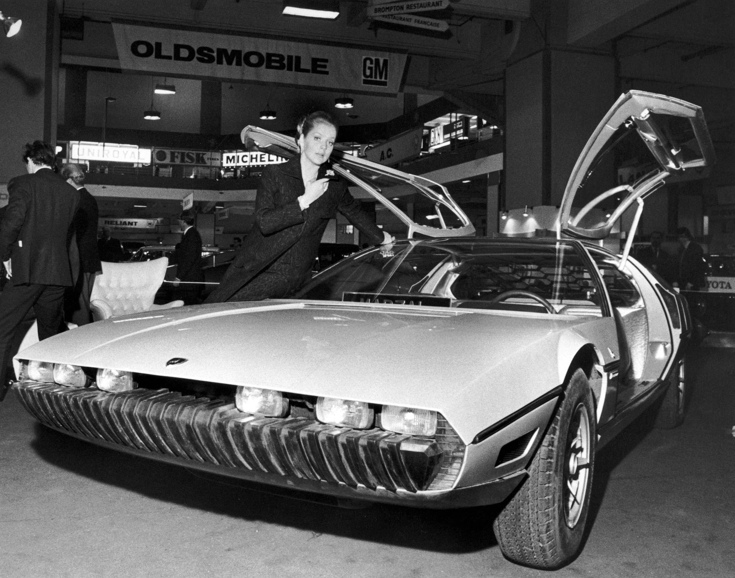 The Lamborghini Marzal, a one-off prototype concept car, designed by by Marcello Gandini of the Bertone design studio, at a preview of the London Motor Show at Earl's Court, Oct. 17, 1967.