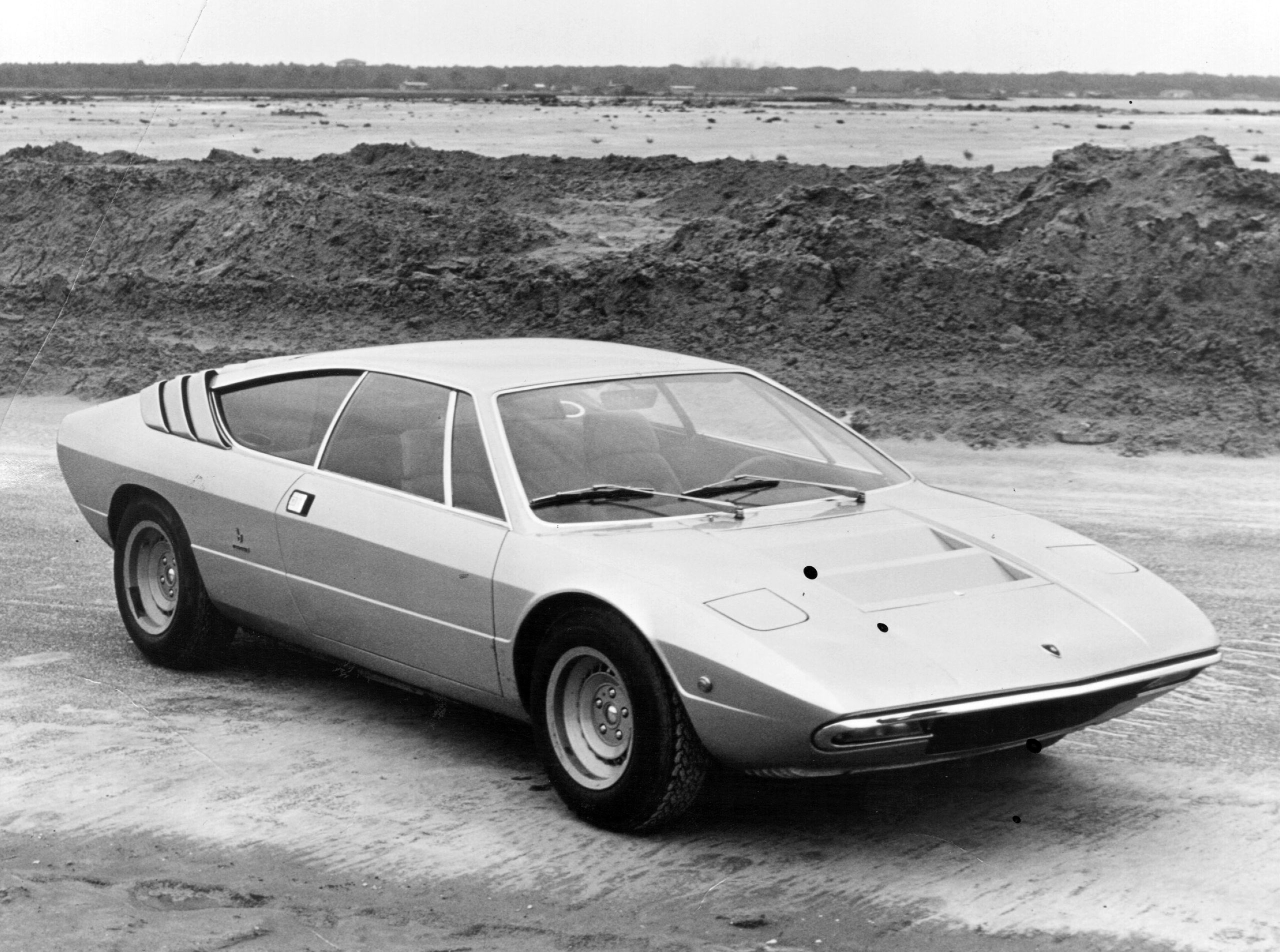 Lamborghini P250 Urraco 2+2 V8 sports car styled by Bertone and priced at £5500 in 1972.