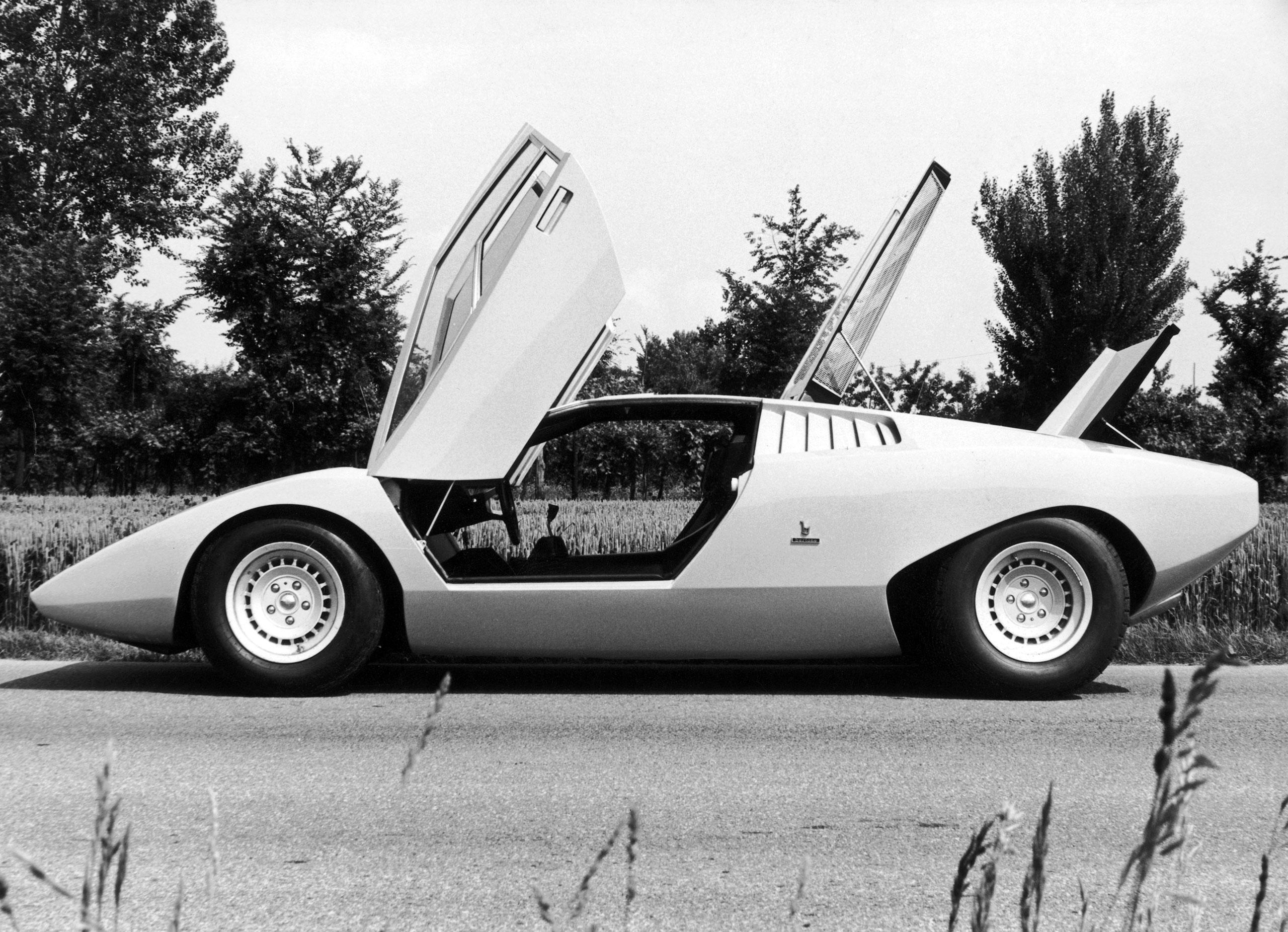 The Lamborghini LP500, first prototype of the Countach sports car, designed by by Marcello Gandini of the Bertone design studio, circa 1972.