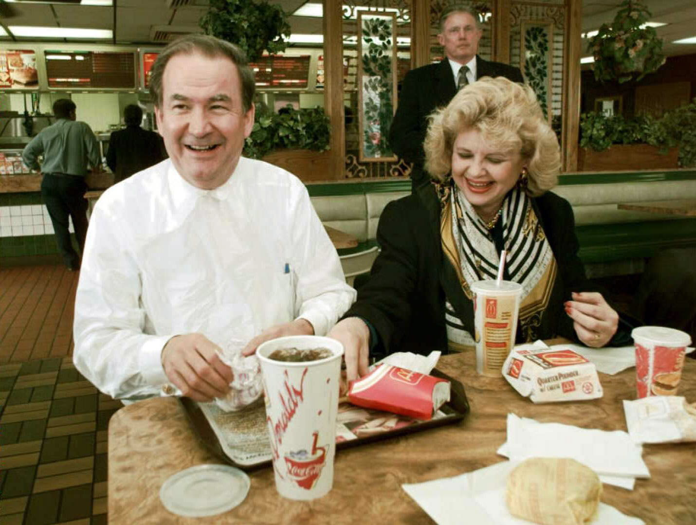 Republican presidential candidate Pat Buchanan and wife Shelley eat lunch at the local McDonald's restaurant in Greenwood, South Carolina, during a break while driving across the state for campaign stops. Feb. 28, 1996.