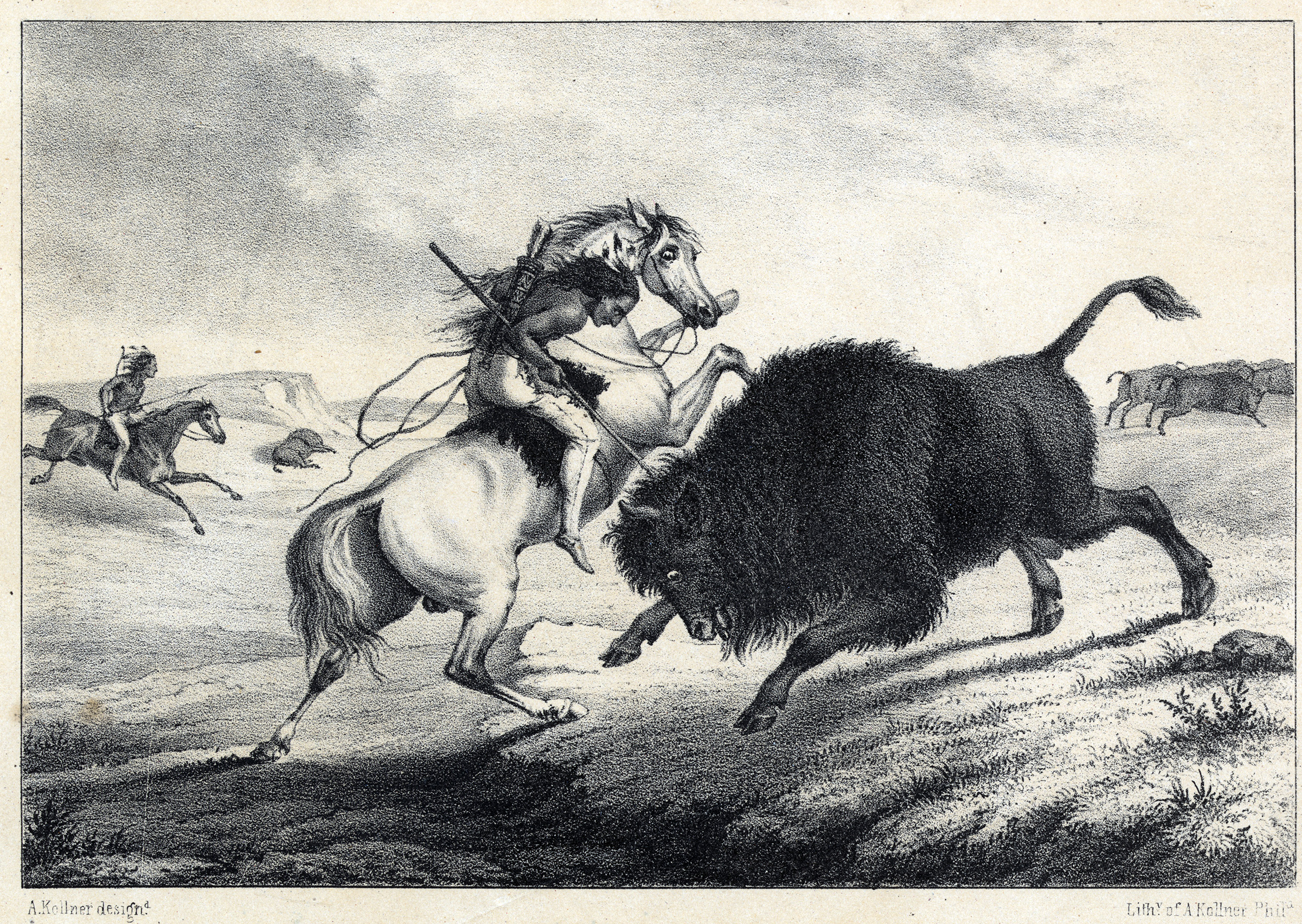 Lithograph of an American Indian on horseback killing a bison. Circa 1850-1860.