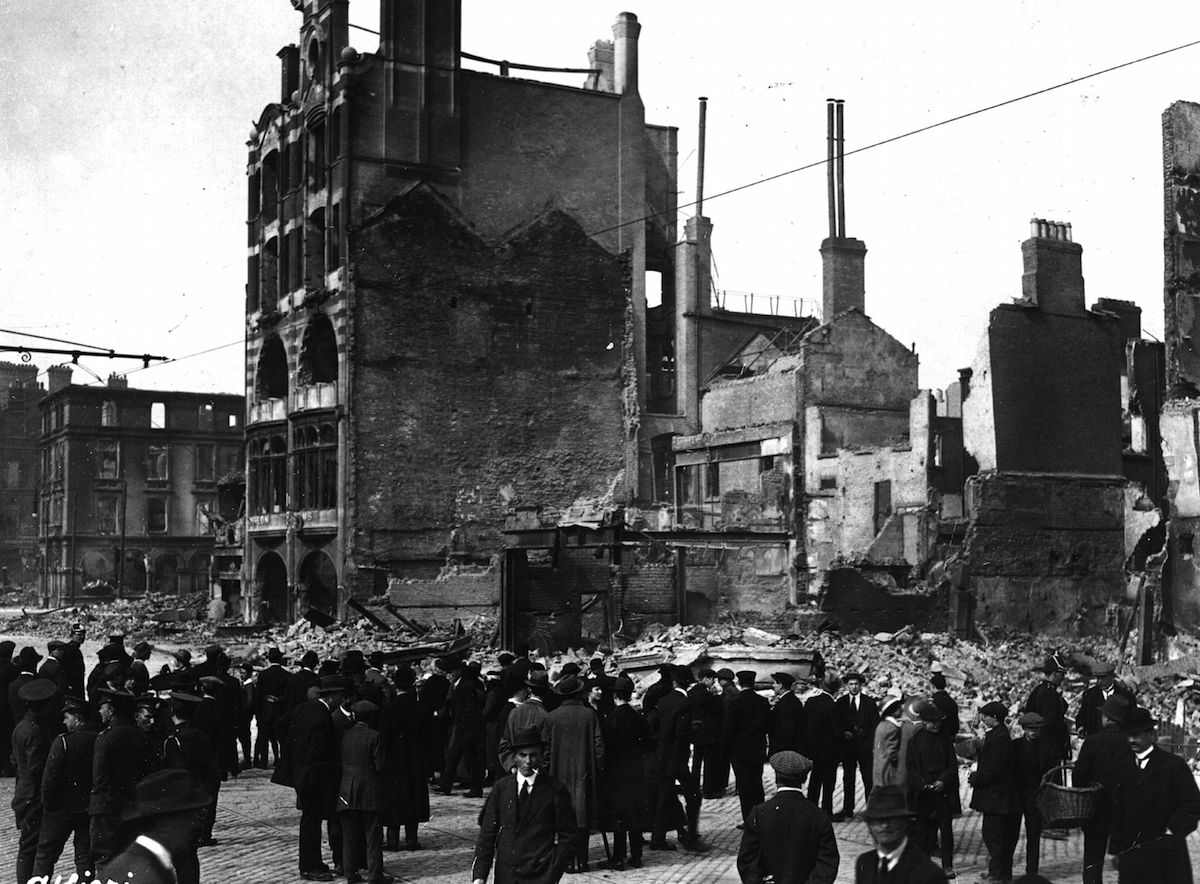 Wrecked buildings on the corner of Sackville Street in Dublin during the Easter Rising of 1916.