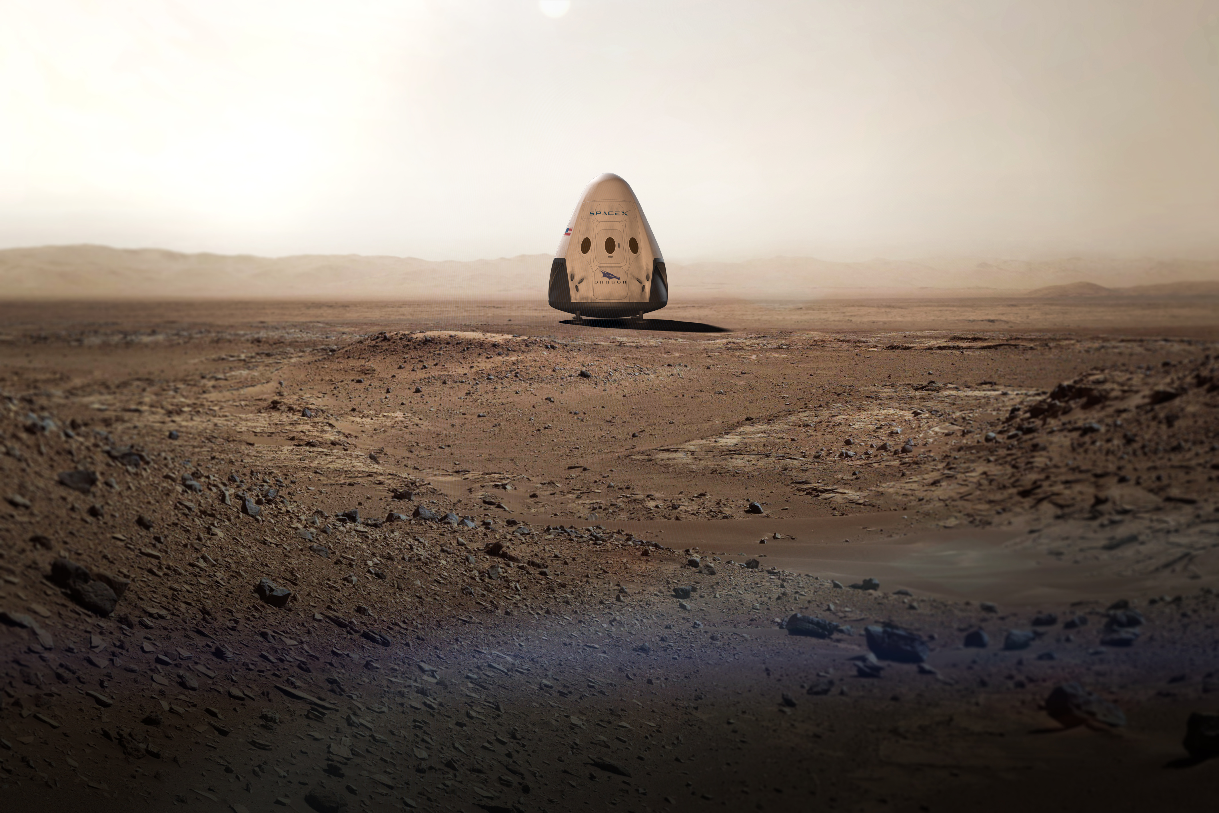 Mission (to be) accomplished: An artist's rendering of the SpaceX vehicle on Mars