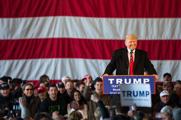 Presidential candidate Donald Trump speaks before a capacity crowd at a rally for his campaign on April 10, 2016 in Rochester, New York. Brett Carlsen—2016 Getty Images