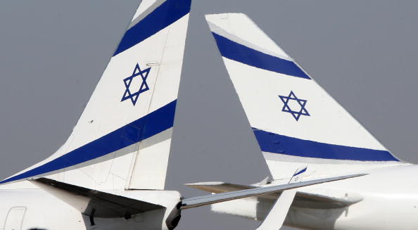A Boeing 777-200 (R) and a Boeing 737-800 (L) of Israeli airliner EL-AL sit at the tarmac at Ben Gurion International airport on October 28, 2009.  JACK GUEZ—AFP/Getty Images