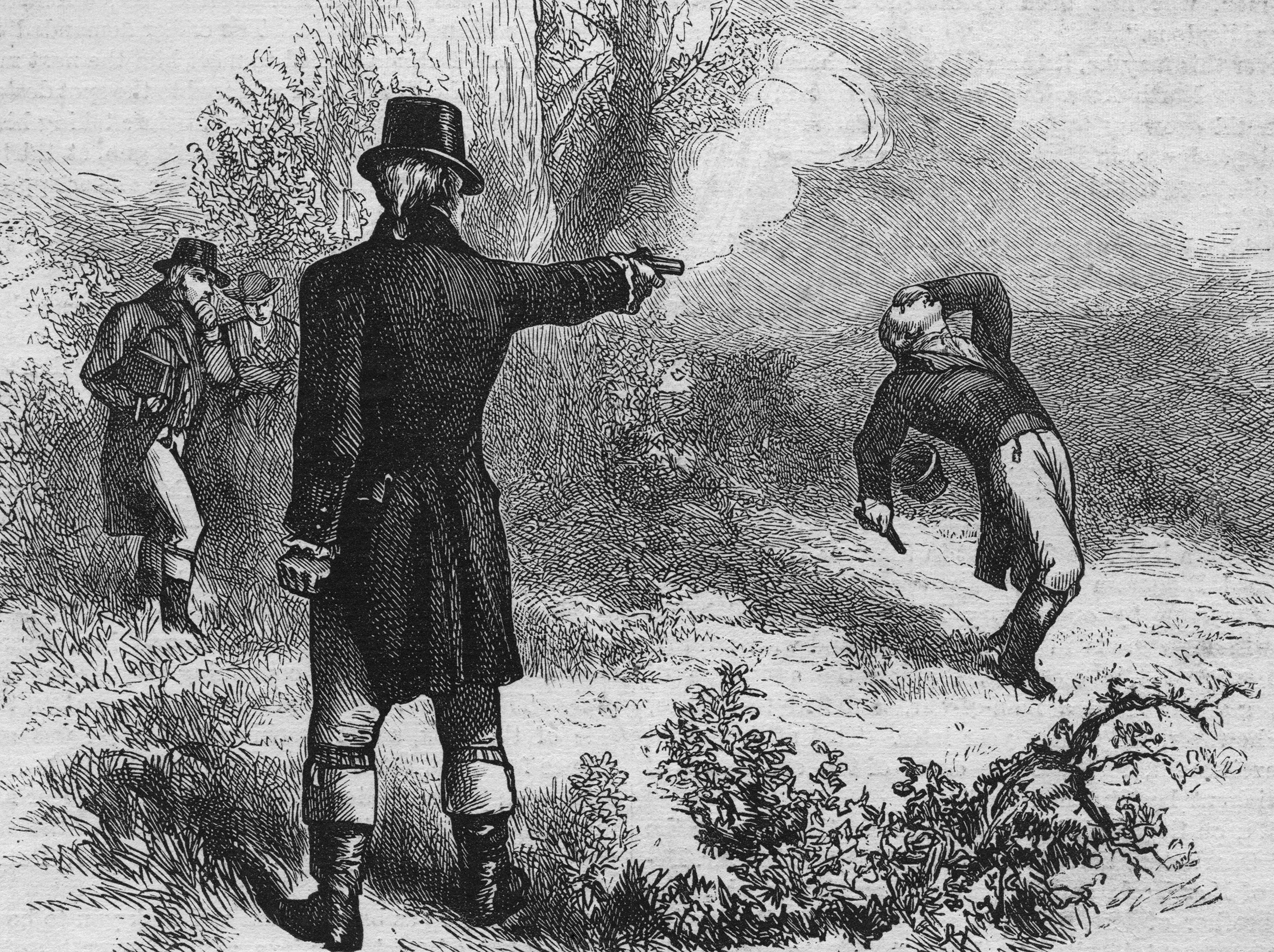 An engraved illustration of The Burr/Hamilton duel on July 11, 1804.