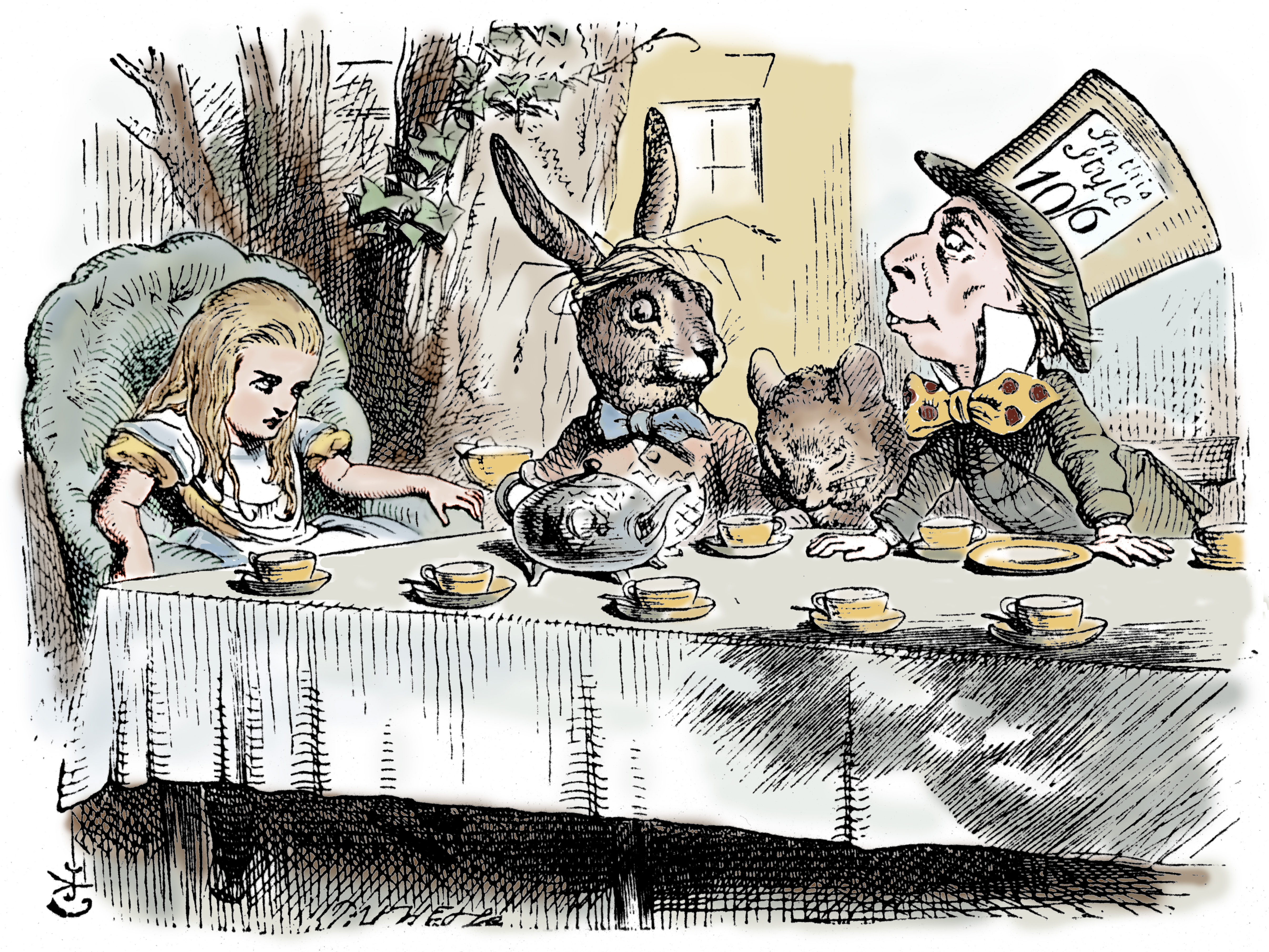 Scene from Alice's Adventures in Wonderland by Lewis Carroll, 1865.