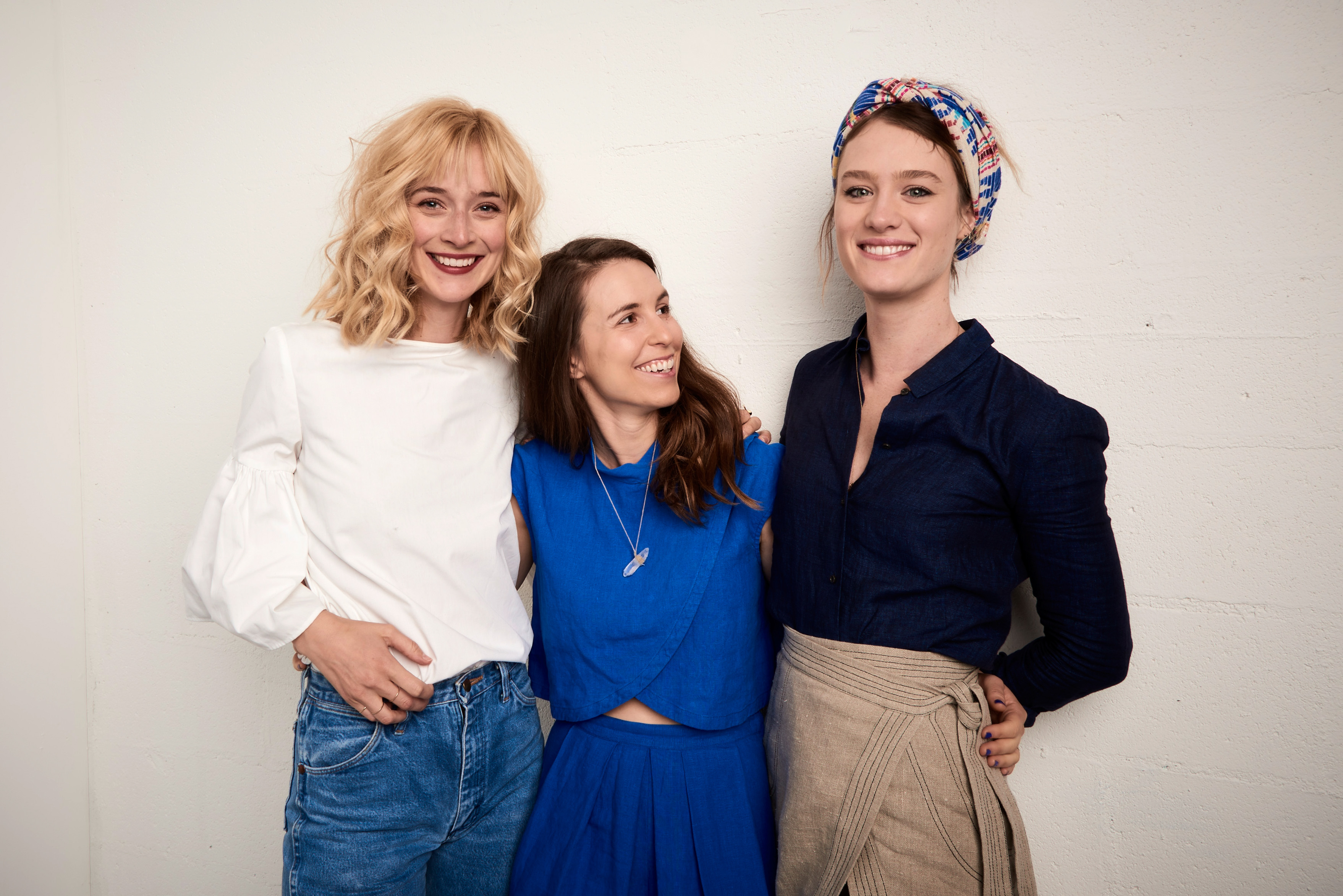 Actress Caitlin FitzGerald, director Sophia Takal, and actress Mackenzie Davis pose at the Tribeca Film Festival Getty Images Studio on April 15, 2016 in New York City.