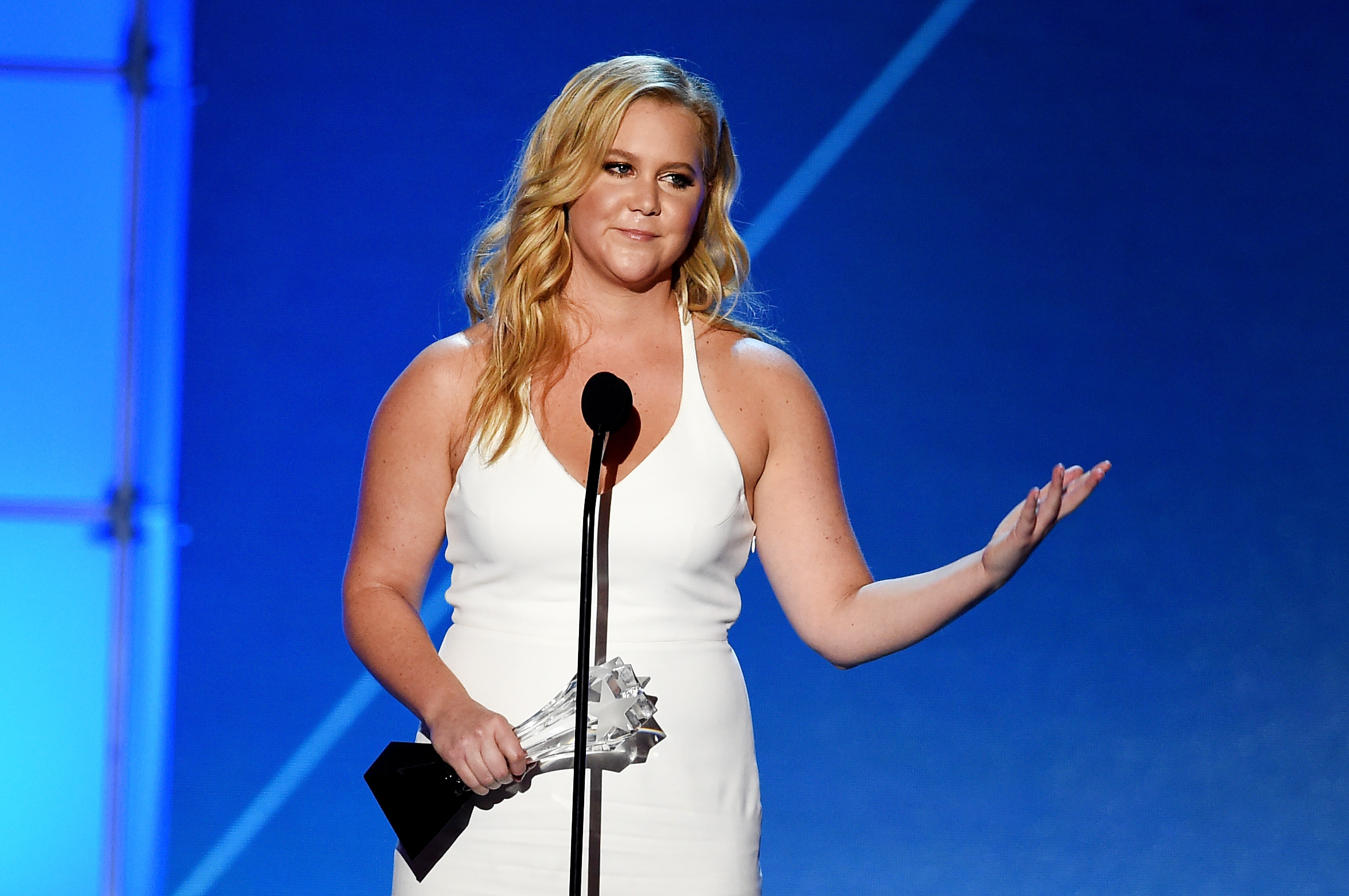 Amy Schumer speaks onstage during the 21st Annual Critics' Choice Awards at Barker Hangar on January 17, 2016 in Santa Monica, California.