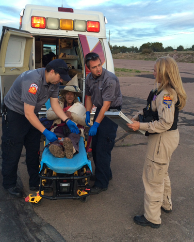 Ann Rodgers, a 72 year-old woman missing since March 31, being rescued by the Arizona Department of Public Safety Air Rescue Unit in Canyon Creek, Gila County, Arizona, April 9, 2016.