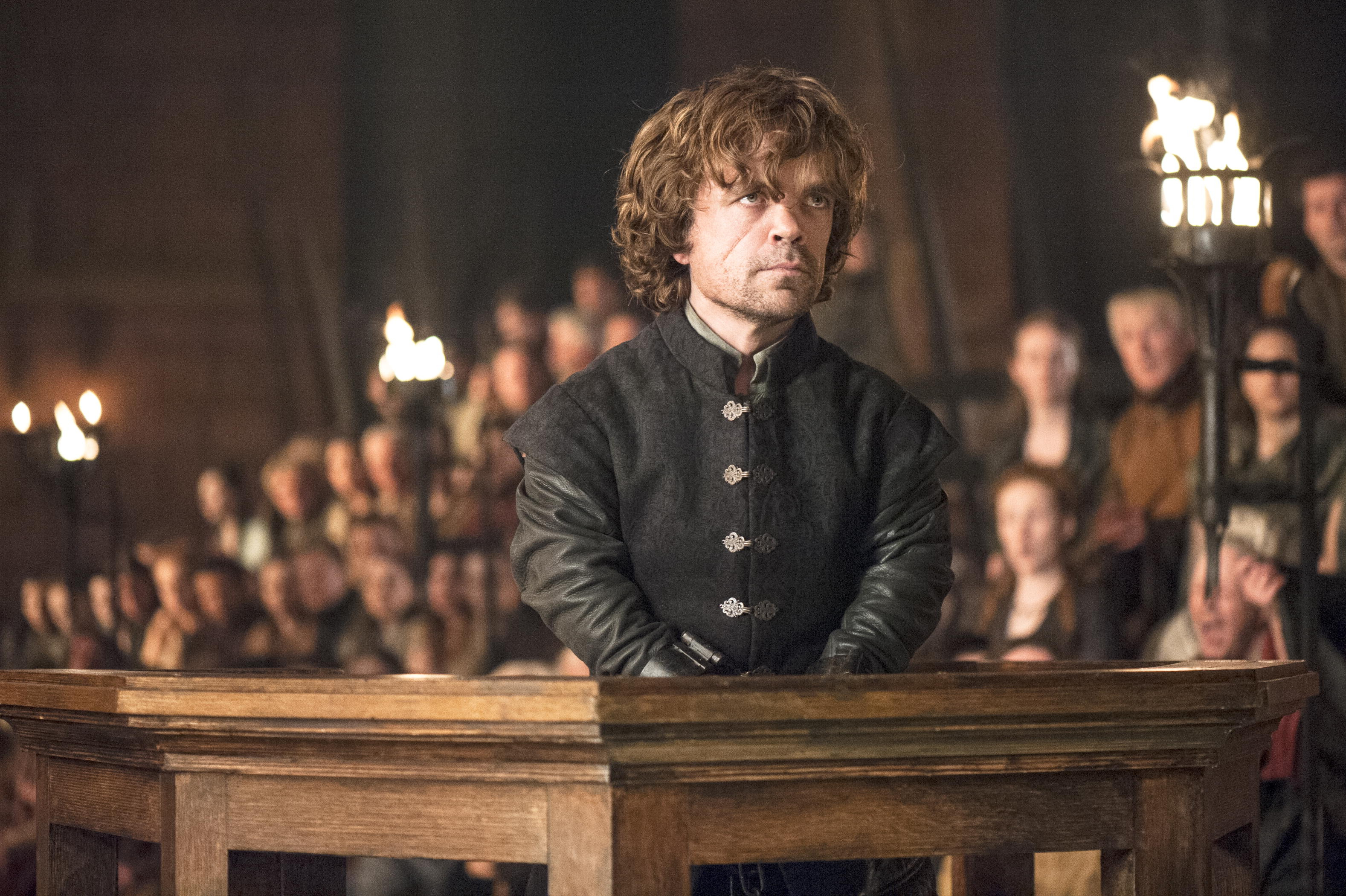 This photo provided by HBO shows Peter Dinklage as Tyrion Lannister on trial in a scene from season 4 of 'Game of Thrones'