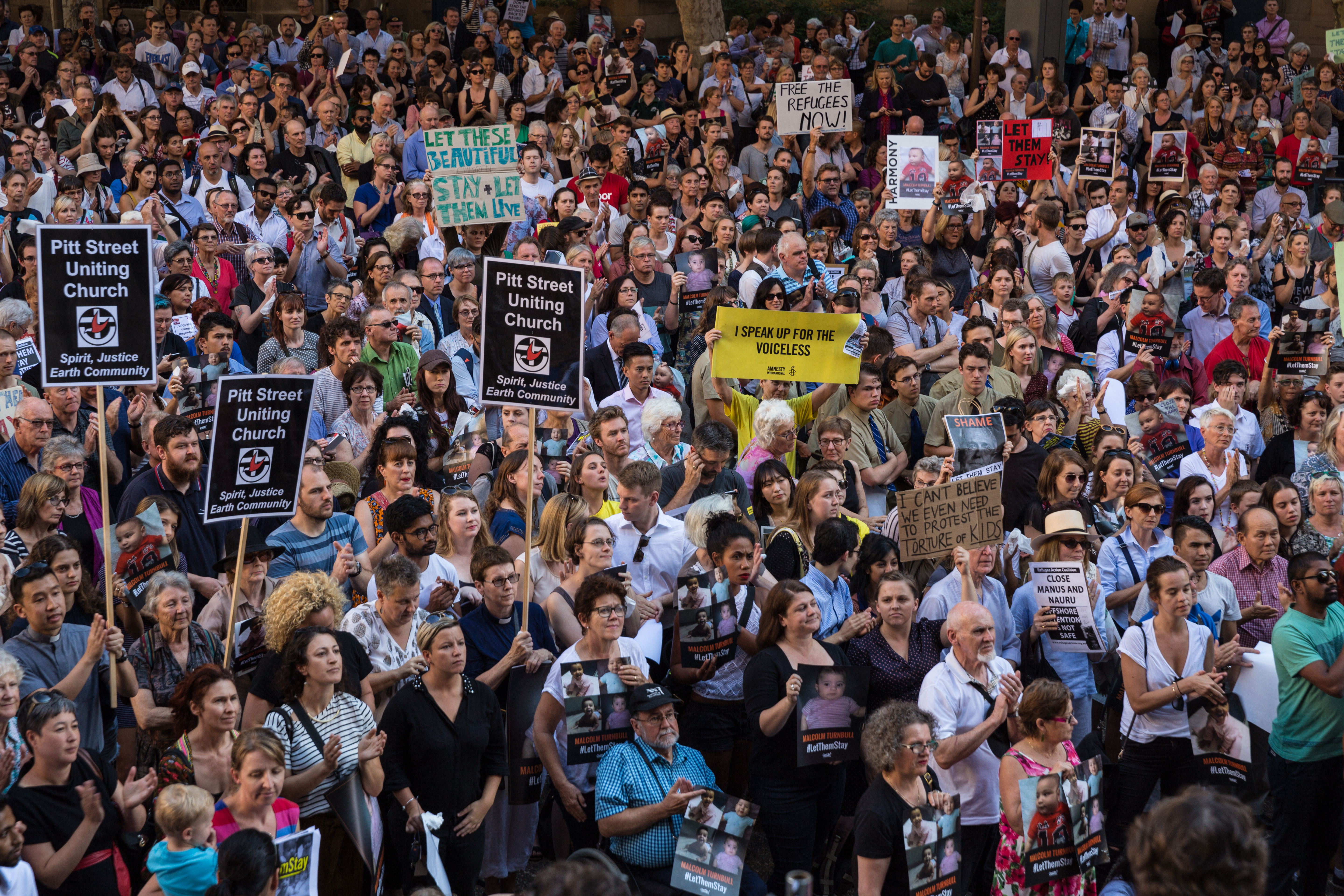 Protesters at Town Hall Square gathered to demonstrate against offshore detention, Feb. 08, 2016 in Sydney, Australia