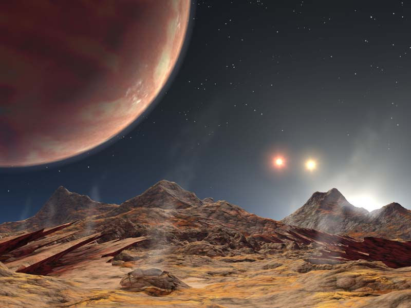 An artist's concept of another known planet to reside in a triple-star system, HD 1885 Ab.