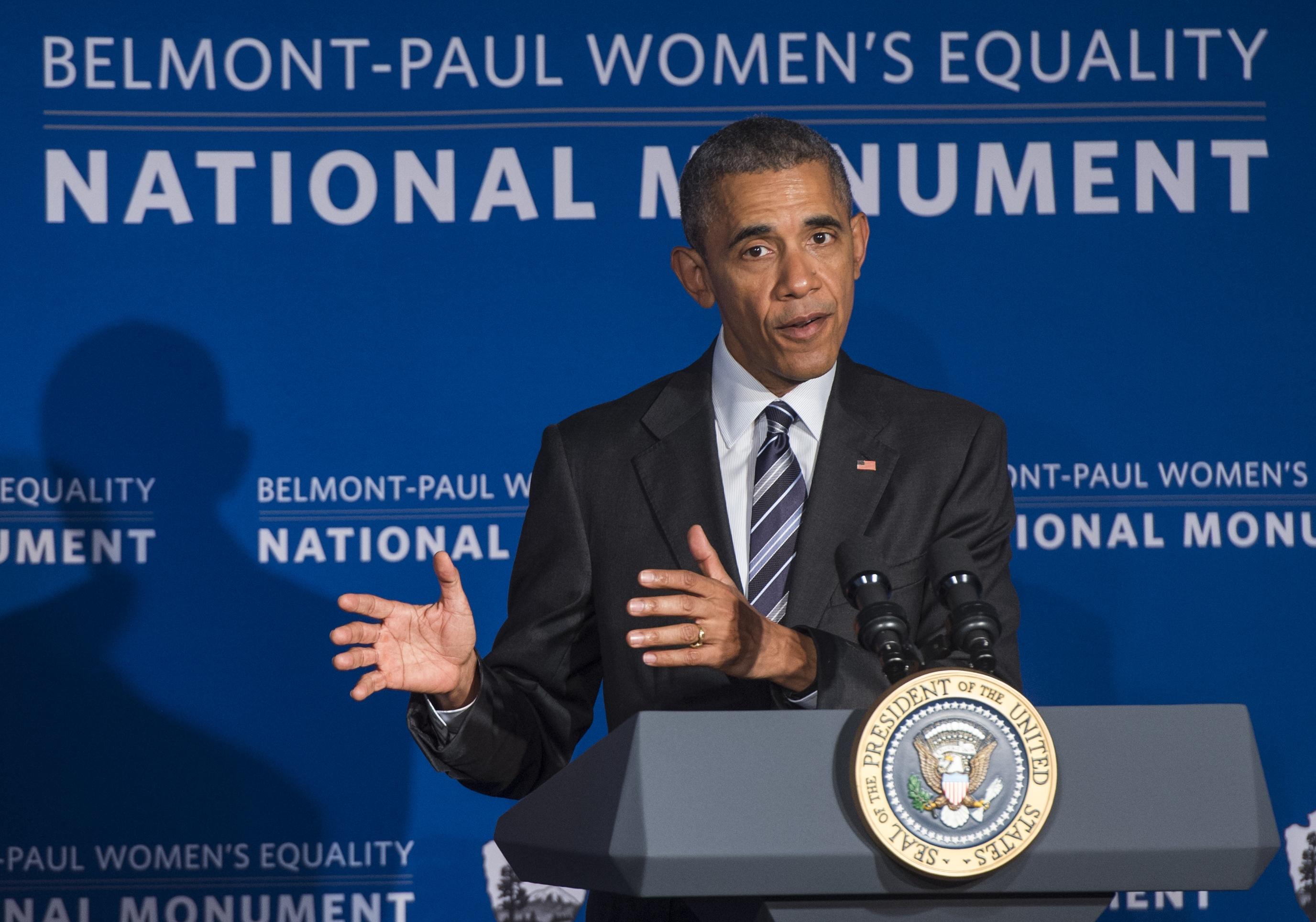 U.S. President Barack Obama speaks at the newly-designated Belmont-Paul Women's Equality National Monument in Washington, D.C. on April 12.