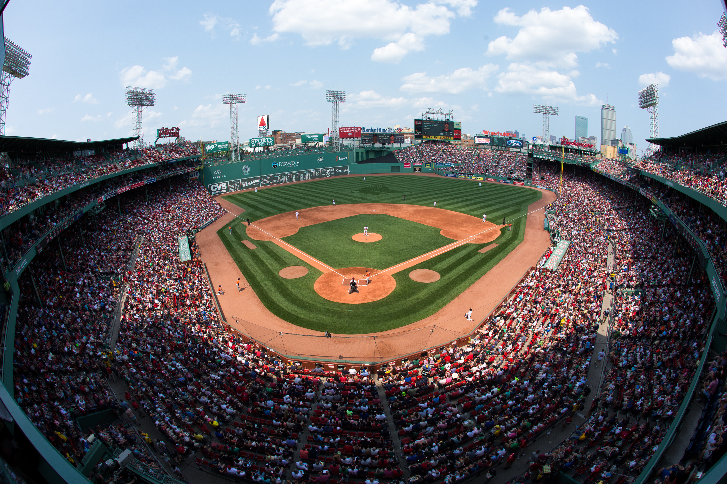 The Boston Red Sox play a game against the Houston Astros at Fenway Park on July 5, 2015 in Boston, Massachusetts.