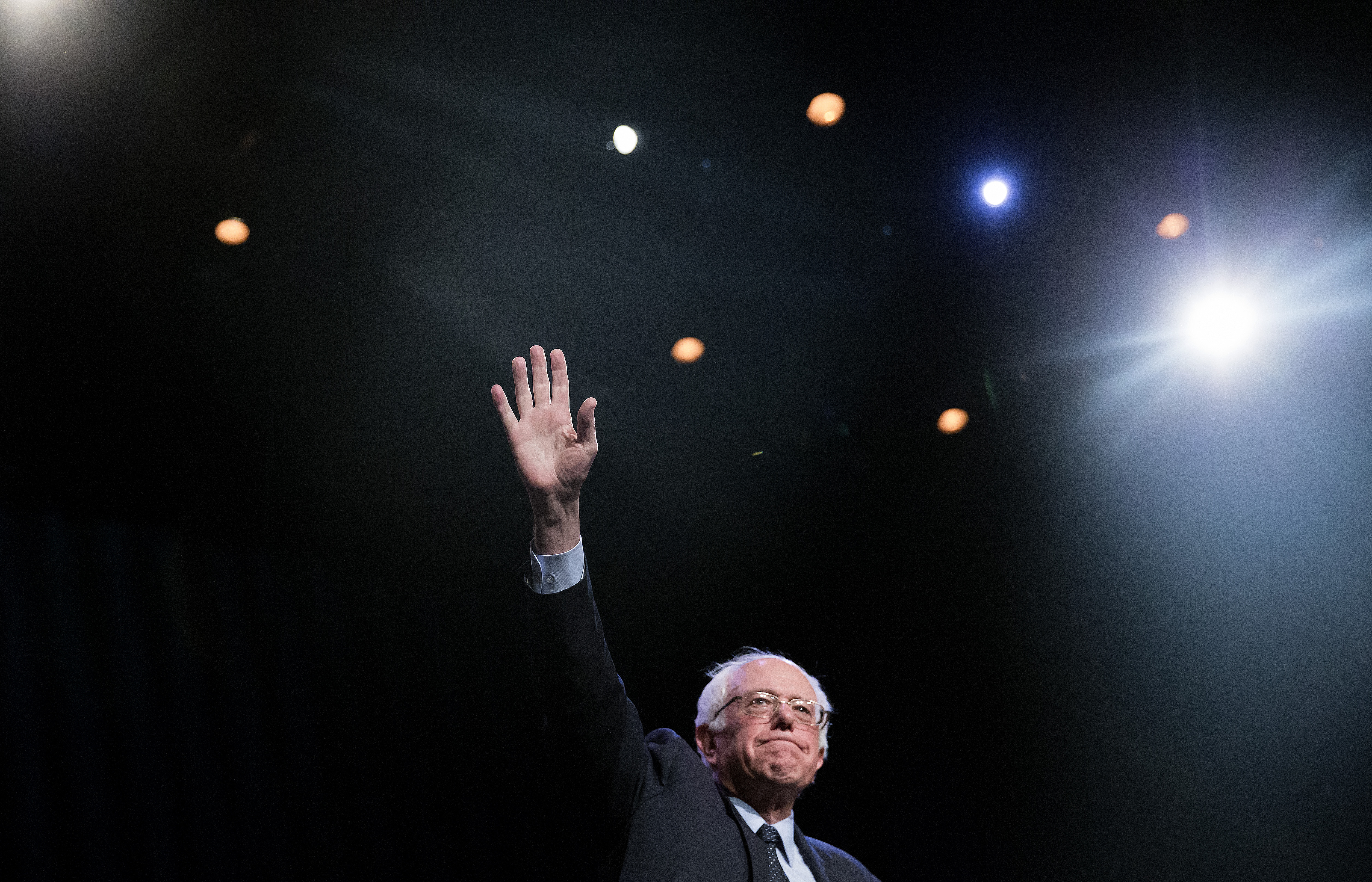 Democratic presidential candidate Sen. Bernie Sanders (D-VT) attends a Community Conversation at the Apollo Theater on April 9 in the Harlem neighborhood of New York City.