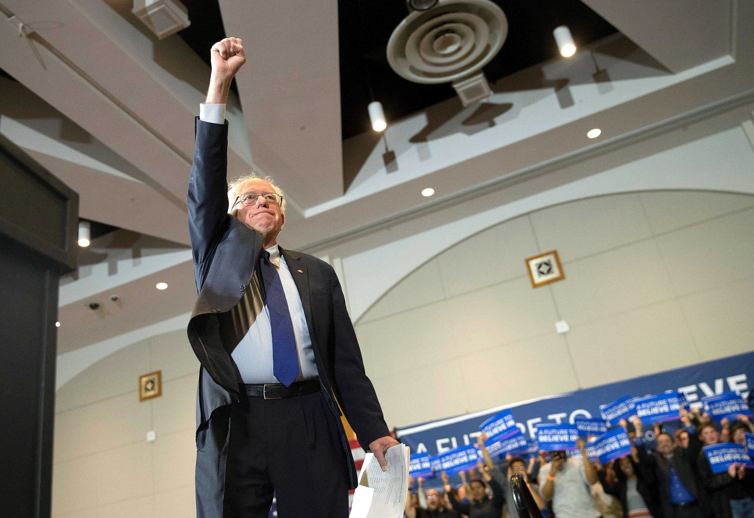 Democratic presidential candidate, Sen. Bernie Sanders (D-VT) arrives at a campaign rally at the Wisconsin Convention Center on April 4, 2016 in Milwaukee, Wis.