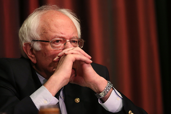 Democratic presidential candidate Sen. Bernie Sanders pauses before addressing the 25th annual National Action Network convention on April 14, 2016 in New York City.