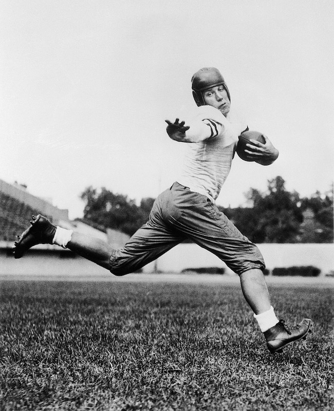 University of Chicago halfback Jay Berwanger is shown in 1934 in the action pose that served as the model for the Heisman Trophy. Berwanger was the first winner of college football's Downtown Athletic Club Award, renamed the Heisman Trophy in 1936, and was the number one pick in the first National Football League (NFL) draft.