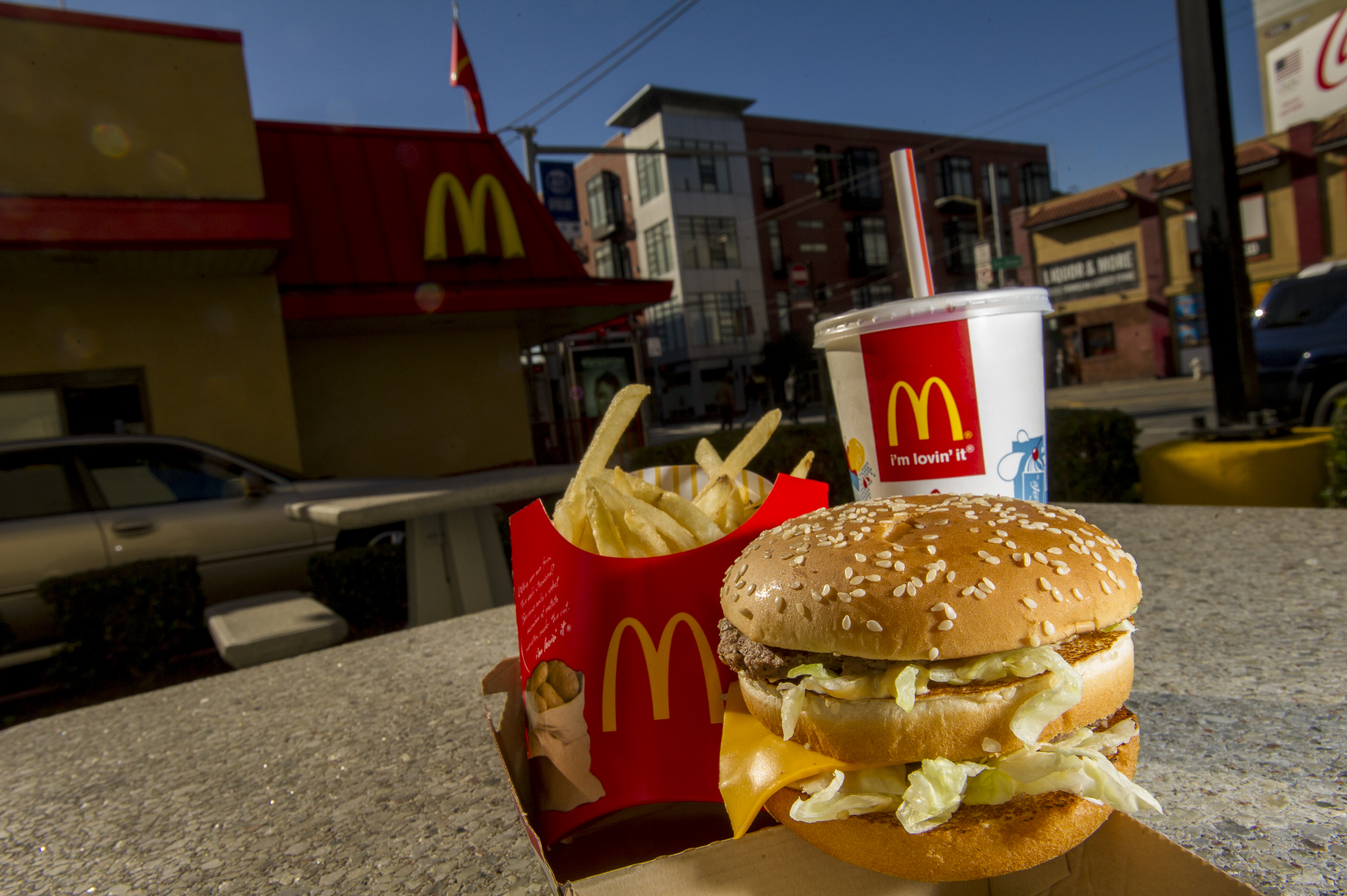 A McDonald's Corp. Big Mac meal is arranged for a photograph outside of a restaurant in San Francisco, California, U.S., on Wednesday, Jan. 22, 2014.