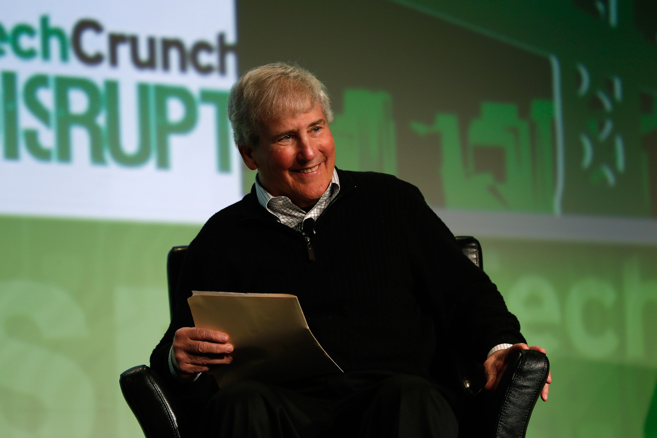 Bill Campbell, chairman of the board and former chief executive of Intuit Inc., moderating a chat with Ben Horowitz of Andreessen Horowitz during day one of TechCrunch Disrupt SF 2012 event at the San Francisco Design Center Concourse in San Francisco on Sept. 10, 2012.