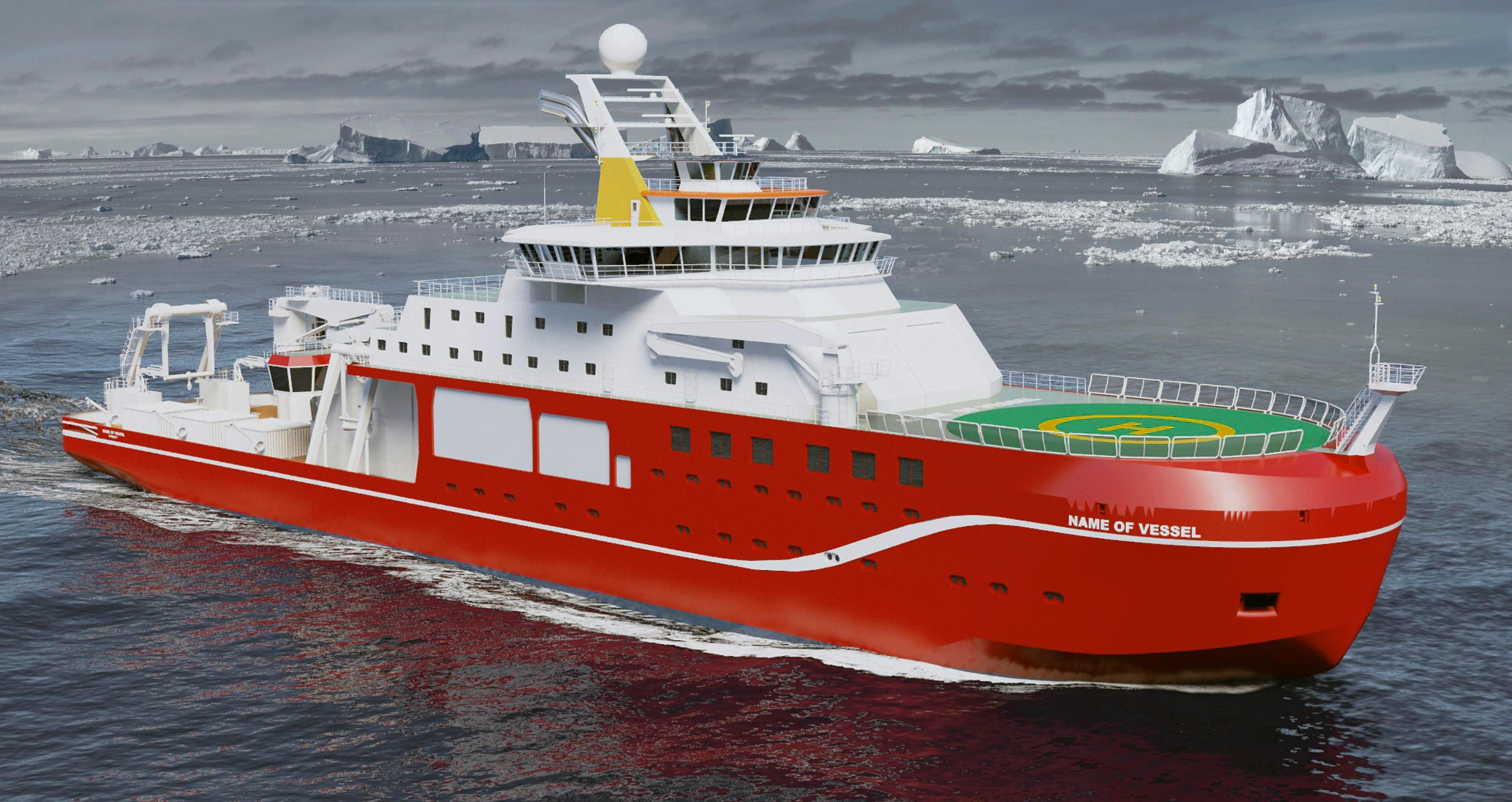 A computer-generated image of the Natural Environment Research Council's new polar research ship
