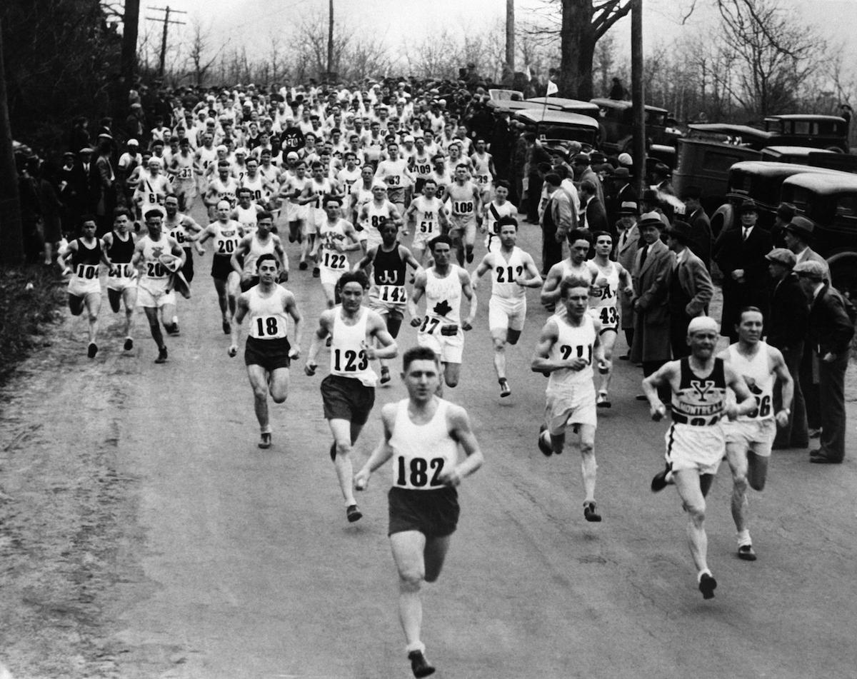 A scene from the 1930 Boston marathon