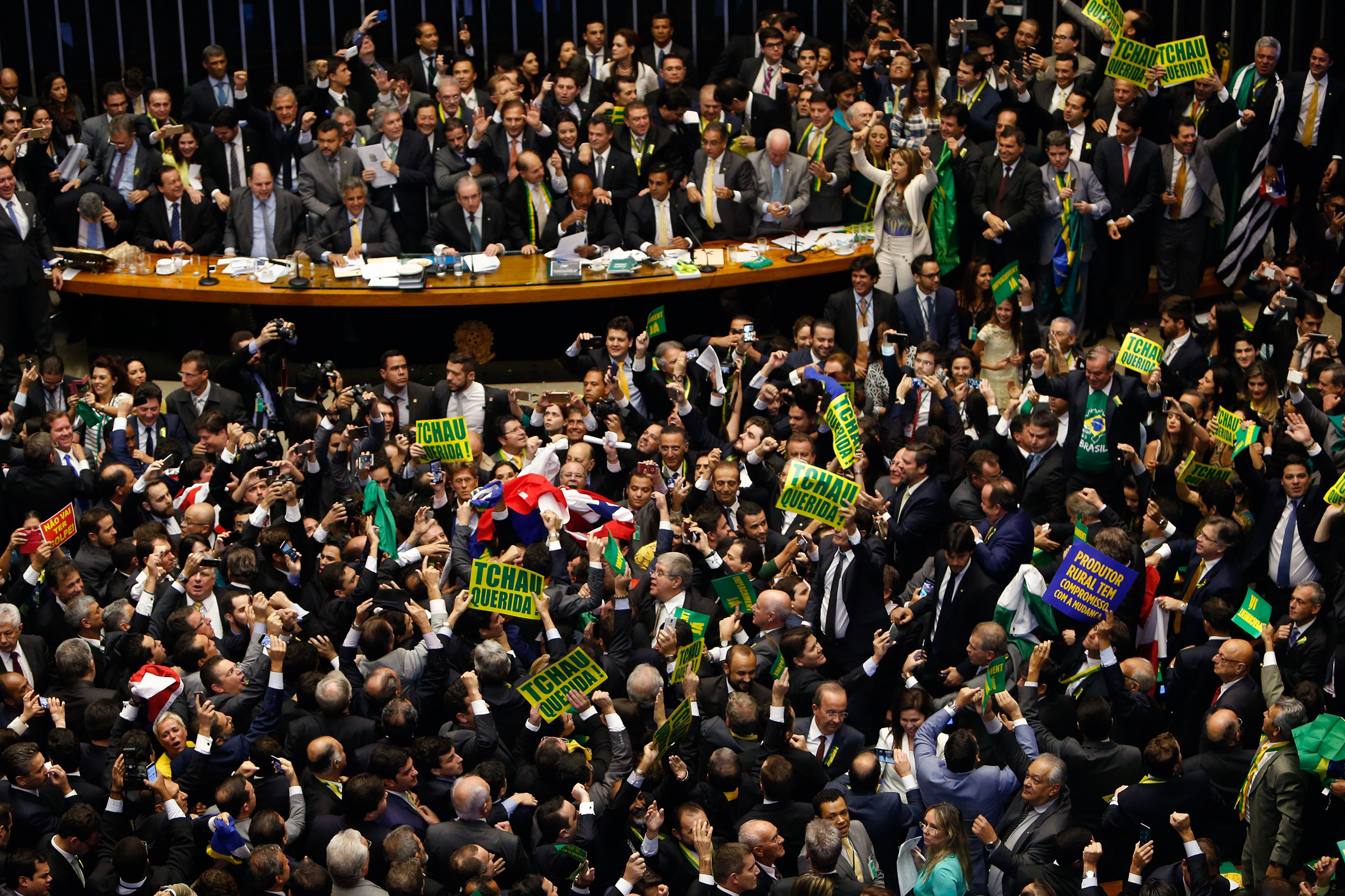 Deputies of the Lower House of Congress vote on whether to impeach President Dilma Rousseff in Brasilia, Brazil, April 17, 2016.