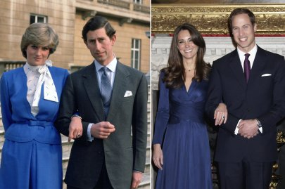 Left: Prince Charles arm-in-arm with fiancée Lady Diana Spencer on the steps of Buckingham Palace in London, Feb. 24, 1981. Right: Prince William and Kate Middleton pose after the announcement of their engagement in the State Apartments of St. James Palace, London, Nov. 16, 2010.