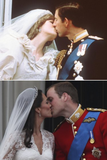 Top: Prince Charles and Princess Diana kiss on the balcony of Buckingham Palace in London, July 19, 1981. Bottom: Prince William, Duke of Cambridge, and Catherine, Duchess of Cambridge, kiss on the balcony of Buckingham Palace, April 29, 2011.
