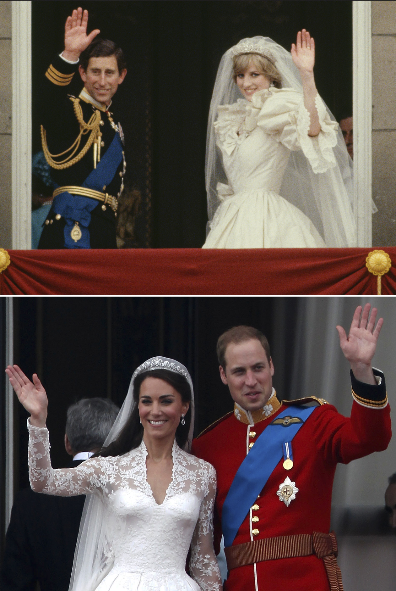 Top: Prince Charles and Princess Diana wave from the balcony of Buckingham Palace after their wedding, London, July 29, 1981. Bottom: Prince William and Catherine, Duchess of Cambridge, wave from the balcony of Buckingham Palace after their wedding, London, April 29, 2011.