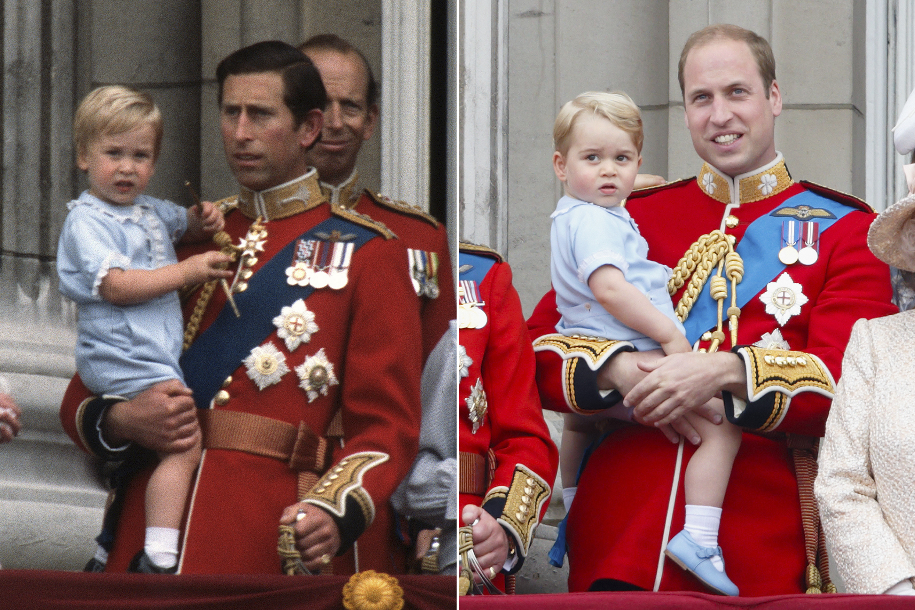 Left: Prince Charles holds Prince William on the balcony of Buckingham Palace following the Trooping the Colour ceremony in London, June 16, 1984. Right: Prince William holds Prince George on the balcony of Buckingham Palace following the Trooping the Colour ceremony in London, June 13, 2015.